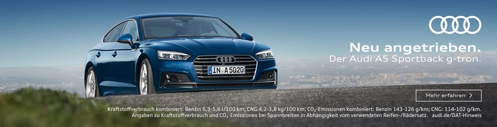 [WERBUNG] Neu angetrieben. Der Audi A5 Sportback g-tron